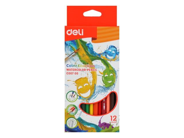 Карандаши цветные 12цв Deli Color Emotion трехгранные акварельные EC00700