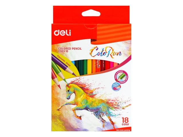 Карандаши цветные 18цв Deli ColoRun трехгранные EC00310