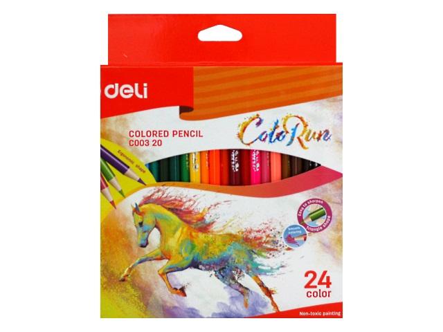 Карандаши цветные 24цв Deli ColoRun трехгранные EC00320