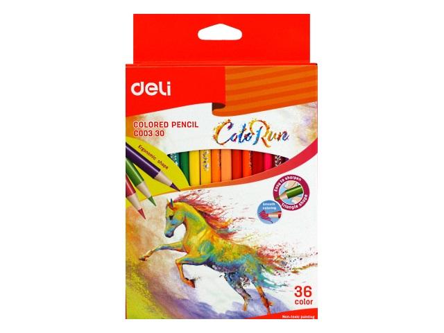 Карандаши цветные 36цв Deli ColoRun трехгранные EC00330
