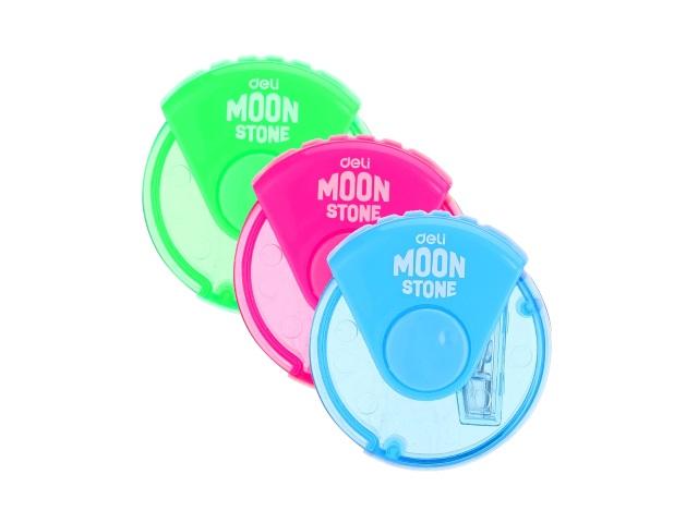Точилка с контейнером пластик Deli Moon Stone E0554