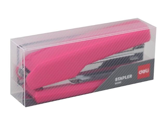Степлер №10 12л Deli Essential пластик цветной с антистеплером E0229F