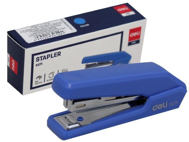 Степлер №10 15л Deli Essential пластик цветной с антистеплером E0271