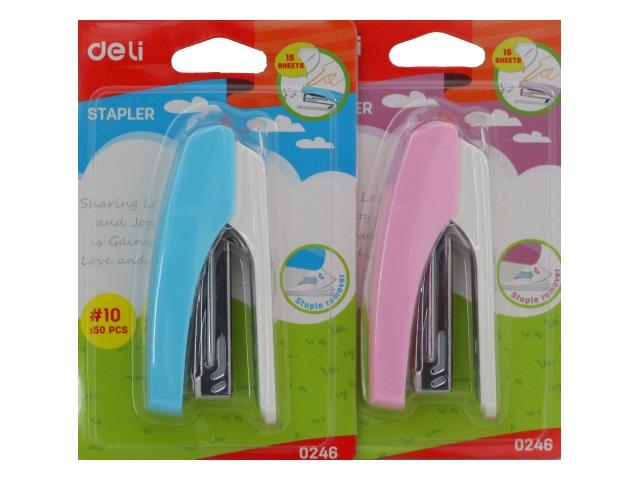 Степлер №10 12л Deli пластик цветной с антистеплером E0246