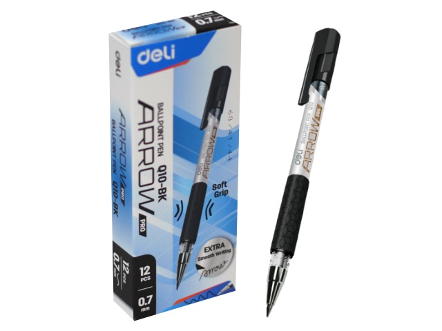 Ручка шариковая Deli Arrow черная 0.7мм EQ10-BK