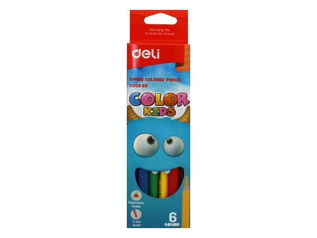 Карандаши цветные  6цв Deli Color Kids Jumbo трехгранные EC00660