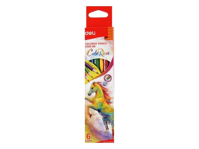 Карандаши цветные  6цв Deli ColoRun трехгранные EC00360