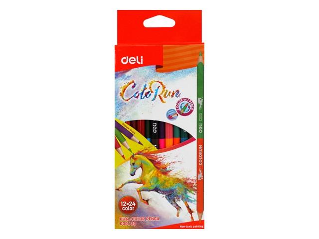 Карандаши цветные 12шт 24цв Deli ColoRun двухсторонние EC00520