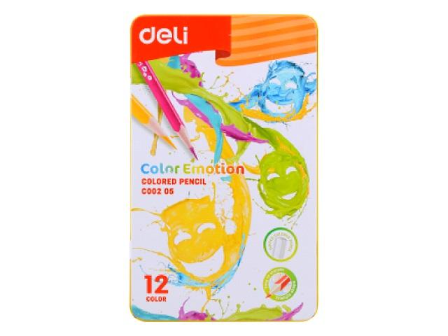 Карандаши цветные 12цв Deli Color Emotion трехгранные EC00205 в мет.кор.