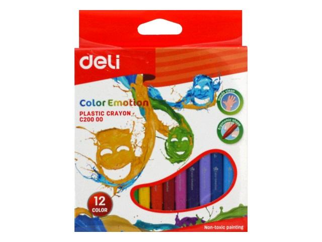 Мелки восковые 12цв Deli Color Emotion трехгранные EC20000