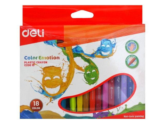Мелки восковые 18цв Deli Color Emotion трехгранные EC20010