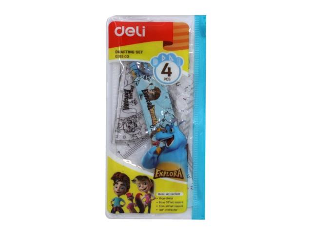 Набор чертёжный 4 предмета 15 см Deli Explora прозрачный EG01503