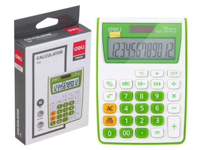 Калькулятор 12-разрядный Deli  8.5*12см зеленый E1122/GRN