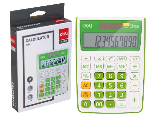 Калькулятор 12-разрядный Deli 10*14см зеленый E1238/GRN