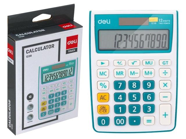 Калькулятор 12-разрядный Deli синий 10*14см E1238/BLUE