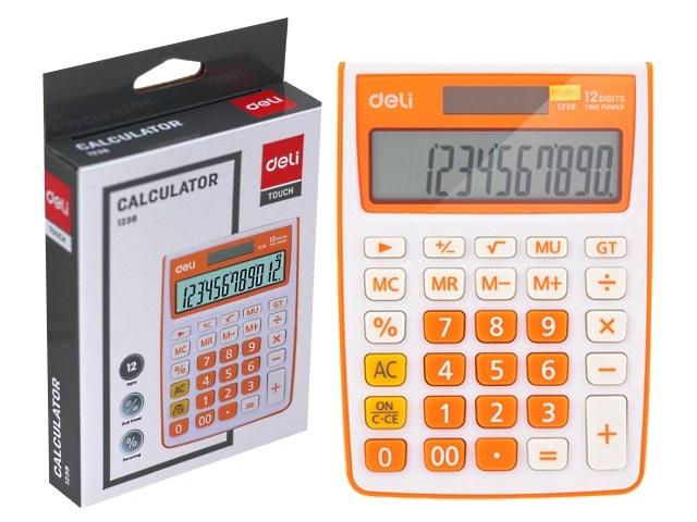Калькулятор 12-разрядный Deli 10*14см оранжевый E1238/OR