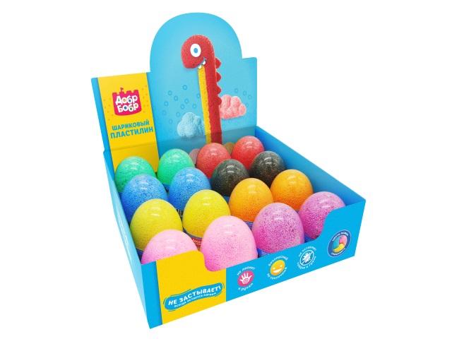 Пластилин шариковый ДобрБобр 175г цветной в яйце ШМЯ175-0