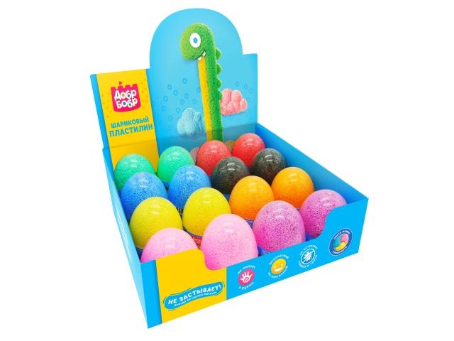 Пластилин шариковый ДобрБобр 175г цветной с блестками в яйце ШБЯ175-0