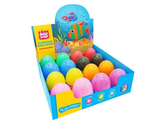 Пластилин шариковый ДобрБобр 175г цветной в яйце ШКЯ175-0