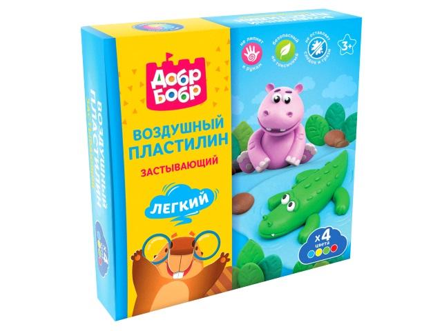 Пластилин воздушный ДобрБобр 4 цвета по 80г НВП04