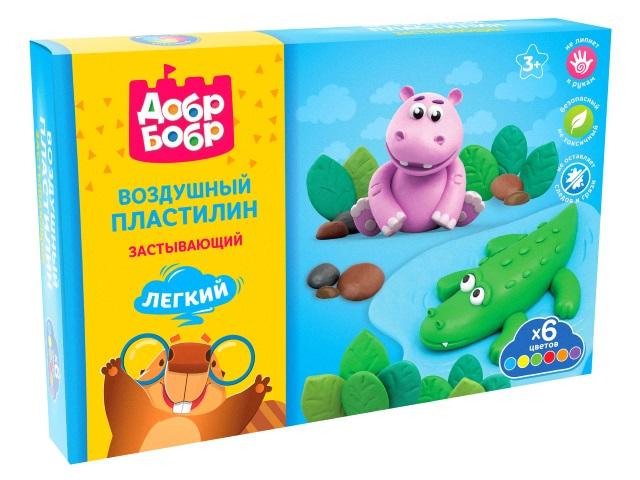 Пластилин воздушный ДобрБобр 6 цветов по 80мл НВП06