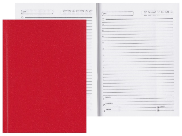 Ежедневник А6 тв/переплёт  96л Prof Press Красный 96БВ-3004