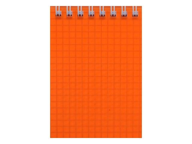Блокнот А7 Hatber спираль сверху пласт/обложка 80л Diamond Neon оранжевый 80Б7B1гр_02035
