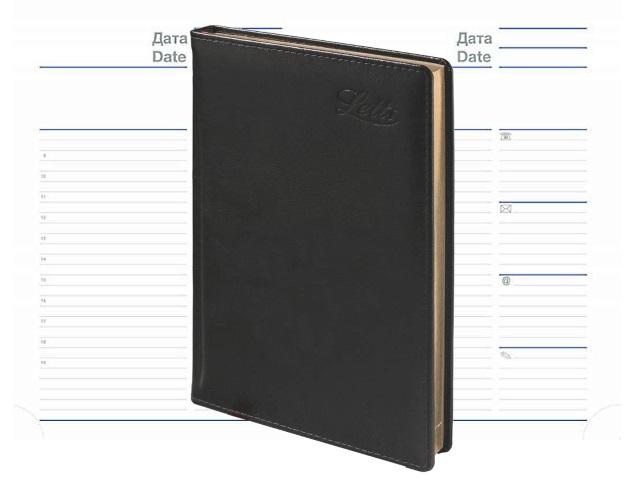 Ежедневник А5 кожа Letts Global Deluxe черный 822924 в коробке