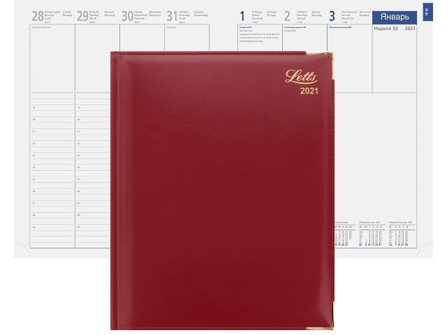 Еженедельник 2021 А4 кожзам Letts Lexicon красный 822941 в коробке