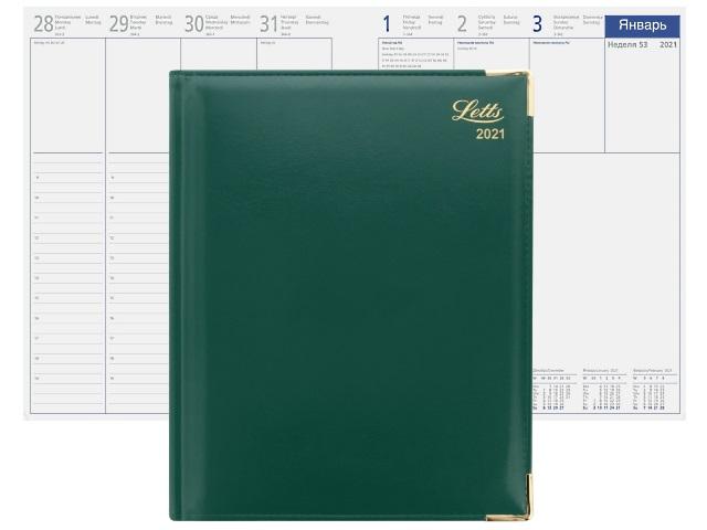 Еженедельник 2021 А4 кожзам Letts Lexicon зеленый 822942 в коробке