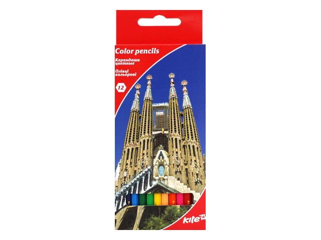 Карандаши цветные 12цв Kite Города шестигранные K17-051-2