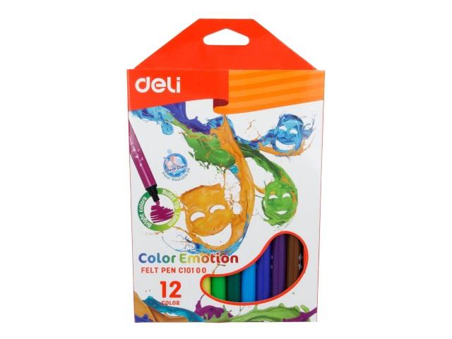 Фломастеры 12цв Deli Color Emotion трехгранные смываемые EC10100