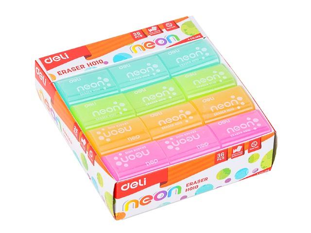 Ластик Deli Neon прямоугольный цветной 39*27*12мм EH01000