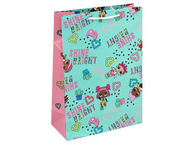Пакет подарочный бумажный 18*23*10см NDPlay LOL мятно-розовый 280541