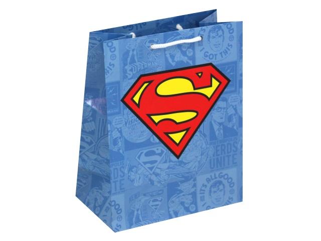 Пакет подарочный бумажный 18*22.3*10см NDPlay Superman голубой 287064