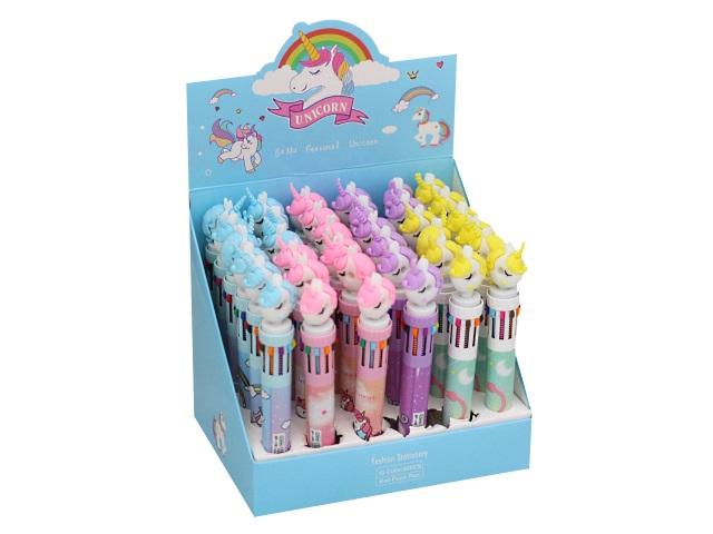 Ручка шариковая 10-ти цветная автомат Basir Единорог ВР-10В МС-5259\36