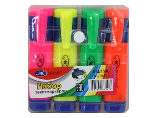 Маркеры текстовые 4 цвета Basir скошенные 1-4мм МС-4883