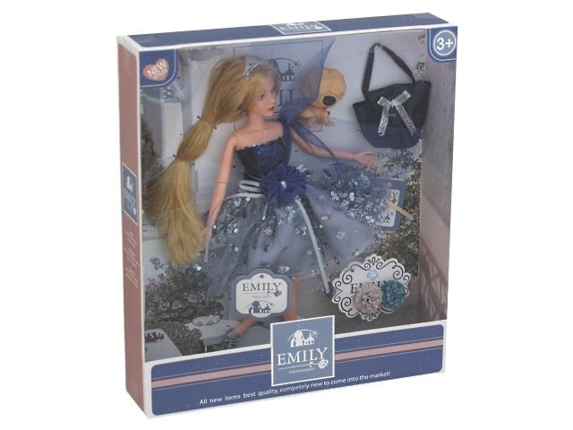 Кукла Emily Синяя птица 28см с сумочкой и мишкой 76971