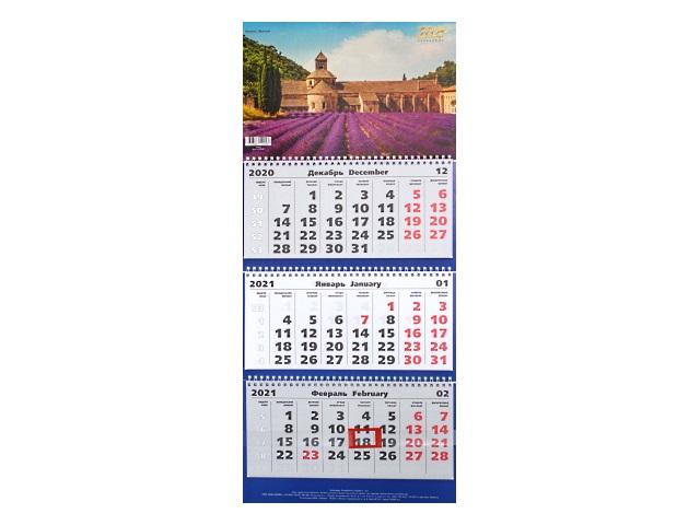 Календарь квартальный 2021 3-х блочный Канц-Эксмо Замки ККТ2112