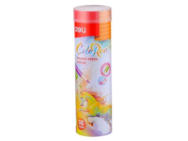 Карандаши цветные 36цв Deli ColoRun трехгранные EC00338 в мет.тубусе