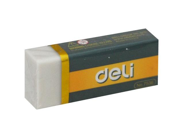 Ластик Deli прямоугольный белый 42*17*10мм E7536