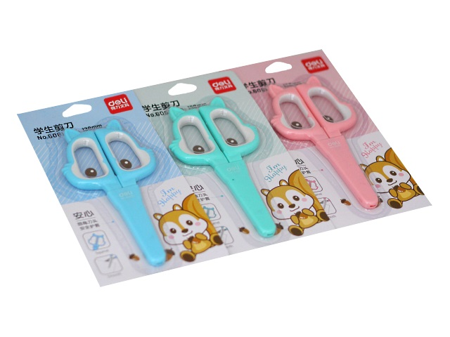 Ножницы детские 13.8 см Deli Happy Cat пластиковые ручки в футляре 6061