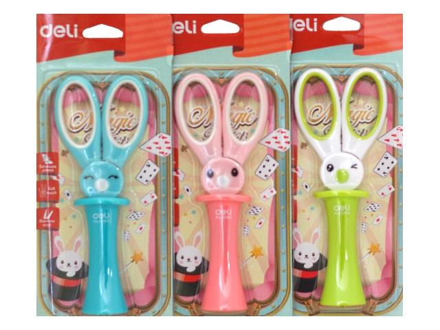 Ножницы детские 13.7 см Deli Magic Rabbit пластиковые ручки в футляре Е6065