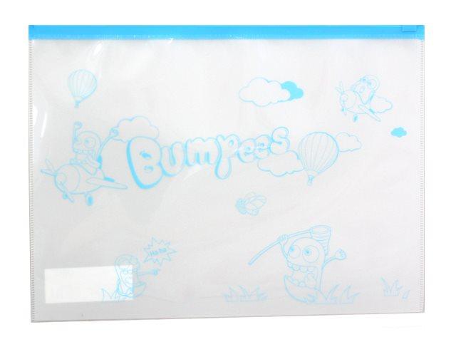Папка на бегунке А4 Deli Bumpees белая с рисунком EZ70102