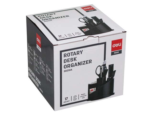Органайзер 16 предметов Deli вращающийся черный E38251A