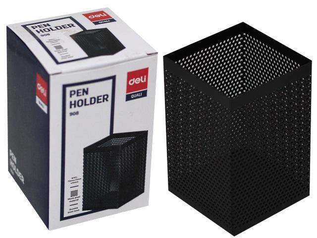 Стакан для ручек металл Deli Quali сетка квадратный черный E908