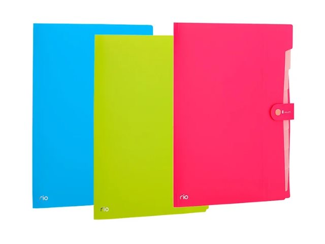 Папка-портфель А4 пластик Deli Rio 8 отделений на кнопке цветная EB40102