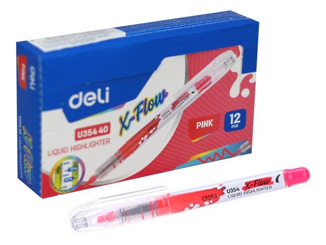 Маркер текстовый Deli X-flow розовый скошенный 1-5мм EU35440