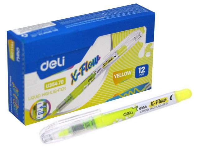 Маркер текстовый Deli X-flow желтый скошенный 1-5мм EU35470