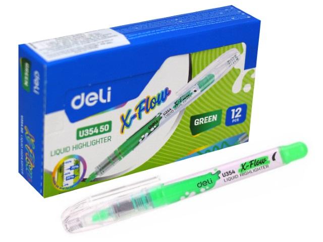 Маркер текстовый Deli X-flow зеленый скошенный 1-5мм EU35450